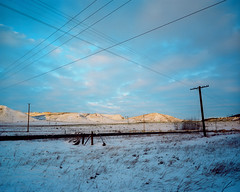 untitled 0485_09 (Levi Wedel) Tags: winter sunset foothills snow 120 mamiya film mediumformat 50mm twilight kodak dusk 7 powerlines alberta 6x7 prairies 67 cochrane portra160 7ii nikoncoolscan9000
