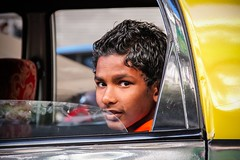 Dans le taxi, Mumbai, India, 2014