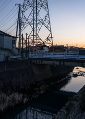 (sandman_kk) Tags: street bridge shadow house tower japan river dark dusk kanagawa 2016