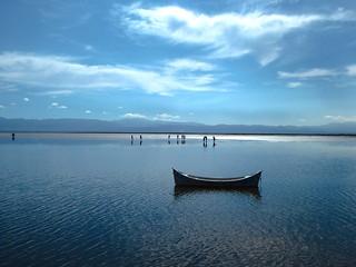 Forgotten Boat at Chaka Salt Flat in China