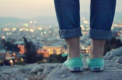 A night out on the Town. (aaronwesleyray) Tags: city sunset summer mountains green girl rock lights legs country mint sneakers keds