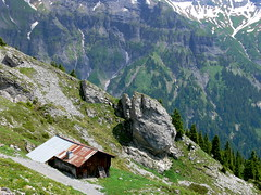 Alp cottage in the mountains (fabiankoppers) Tags: trees roof house mountain snow alps building green home grass rock stone architecture forest landscape woods view top small hill cottage perspective vegetable hike hut tiny