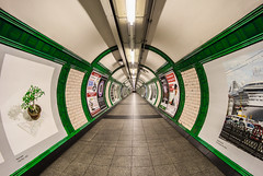 Green Route Redux - Embankment Underground London by Simon & His Camera (Simon & His Camera) Tags: city urban green london lines architecture composition underground lights pattern tube tunnel indoor fisheye round passage iconic simonandhiscamera