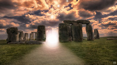 They're back! (BAN - photography) Tags: light cloud grass photoshop ufo aliens fantasy stonehenge stormysky amesbury ancientstones d800e