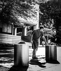Urban Fitness (TMimages PDX) Tags: road street city people urban blackandwhite monochrome buildings portland geotagged photography photo image streetphotography streetscene sidewalk photograph pedestrians pacificnorthwest avenue vignette fineartphotography iphoneography