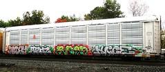 nuday - spin - read - noice (timetomakethepasta) Tags: nuday spin read noice freight train graffiti autorack kcs kansas city southern 125 sts buds