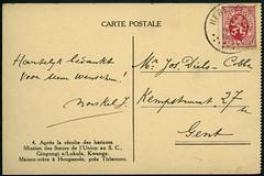 Archiv G012 Karte (back), Poststempel, Belgien, Herentals, 3. Oktober 1918 (Hans-Michael Tappen) Tags: stamps ephemera 1910s 1918 flandern handschrift herentals briefmarke poststempel 1910er archivhansmichaeltappen