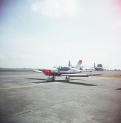 (Cak Bowo) Tags: 120 film mediumformat indonesia airplane holga airport lomo lomography toycamera lightleaks transportation vignette plasticcamera holga120cfn transportasi eastjava juanda pesawat sidoarjo bandara fujipro160s pesawatterbang