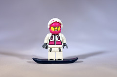 Snowboard Chick (CJ Isherwood) Tags: girl lego mini snowboard minifigs figures lumberjack gladiator barbarian minifigures