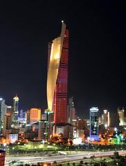 Night Lights for National Day (Colin McLurg) Tags: longexposure night lights cityscape towers noflash celebrations highrise kuwait 2012 nationalday alkout kuwaitflag nikond700 alhamratower colinmclurg
