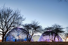 Domes Twilight (johndecember) Tags: park winter usa museum wisconsin march twilight gallery album conservatory milwaukee southside domes hdr 2012 mke fused mitchellparkdomes mitchellpark thedomes photomatixpro photoscape fusedhdr mitchellparkhoriculturalconservatory conoidalglassdomes