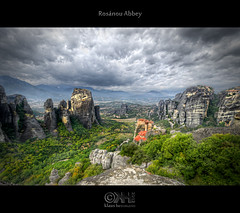 Rosanou Abbey (HDR) (farbspiel) Tags: travel sky abbey clouds photoshop nikon rocks religion wideangle greece monastery handheld griechenland dri hdr highdynamicrange hdri topaz meteora adjust superwideangle infocus grc 10mm postprocessing kalampaka ultrawideangle photomatix denoise d7000 nikkorafsdx1024mmf3545ged trikalon