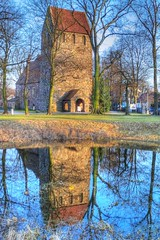 Dorfkirche Berlin-Marienfelde (Lens Daemmi) Tags: old blue reflection berlin green church water germany pond wasser dorf village alt kirche single blau teich spiegelung hdr dorfkirche marienfelde photomatix dorfteich dorfanger