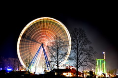 (redglobe*) Tags: light color colour bulb night germany fun licht nikon roundabout carousel timeexposure lux karussell mnster carrusel lumen sendmnster d5100
