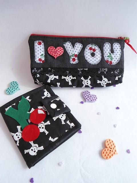 ♥Conjunto amor de cereja♥  necessaire e carteira