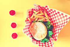 Burger and Fries (boingyman.) Tags: food color canon hawaii ketchup burger frenchfries cheeseburger fries catsup hungry checker grub teddys sigma30 t2i teddysbiggerburger boingyman