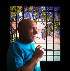 Portrait de Bernard aux glycines (bernard-paris) Tags: bernard artnouveau vitrail