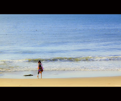 Alone on the beach (-clicking-) Tags: ocean life blue girls sea people seascape beach water walking one sand onthebeach waves alone walk vietnam lonely minimalism minimalist phanthit