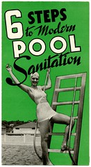 Six Steps to Modern Pool Sanitation (Alan Mays) Tags: old newyorkcity ny newyork green modern vintage ads advertising typography women steps ephemera sanitary 1940s pools 1950s type folded advertisements brochures fonts flyers chemicals ladders swimsuits notices sanitation fliers typefaces swimmingpools handbills leaflets procedures circulars chlorination mathiesonalkaliworks sanitationhth