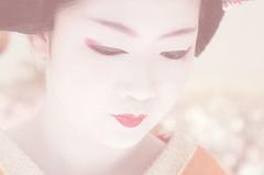 Naokazu, Baika Sai, Kyoto (richard thomson) Tags: red portrait face festival kyoto lips maiko geiko geisha matsuri expressionless nodate baikasai kamishichiken naokazu