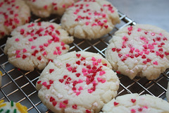 valentine sugar cookies (saucy dragonfly) Tags: pink red cookies baking blog heart treats valentine sugar sprinkles saskatoon fancy valentinesday february14 bloggedyblogblog saucyssprinkles sashalibby
