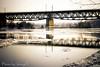 Bahn Bridge (Jen.Ostrander) Tags: snow reflection ice regensburg frozenriver icecoldwater snowtrails
