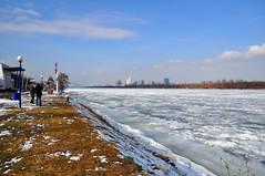Frozen Danube in Vienna I (Vestaligo) Tags: vienna blue sky cloud white cold color ice river geotagged austria frozen nikon fluss eis danube