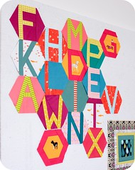 Hexabet Quilt - Progress (badskirt) Tags: blue dog colors typography quilt bright text letters polkadots solids quilting chuck alphabet dots patchwork playful nohara heatherross badskirt