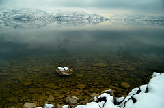 Calm Waters (Photography Through Tania's Eyes) Tags: winter cloud mountain lake snow canada water rock reflections photography photo nikon photographer underwater bc image britishcolumbia okanagan shoreline photograph shore okanaganlake okanaganvalley peachland copyrightimage nikond7000 tboatlaunch taniasimpson