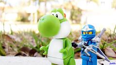 Jay vs Yoshi (chrisofpie) Tags: blue chris pie outdoors funny jay lego ninja mario legos yoshi zx supermario kunai ninjago chrisofpie spinjutsu