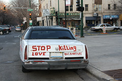 Stop Killing (Flint Foto Factory) Tags: auto city winter urban white chicago black classic love car sign vintage graffiti illinois automobile neon granville top north broadway vinyl picture stretch cadillac american intersection framing february luxury edgewater limousine 1990s 90s fleetwood 2012 brougham chicagoist landau stopkilling loveoneanother worldcars granvillepictures