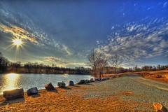 The Sun,  the Lake and some Rocks - b (EXPLORE Feb 21, 2012 #172) (phenix) Tags: landscape minolta sony konica delaware hdr a700 carouselpark 1118mm enchantedlake
