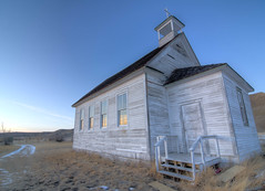 Against the Wind (James.Ireland) Tags: winter sunset abandoned church dorothy town nikon peeling paint cross ghost alberta badlands clapboard hdr d7000 tokina1116