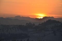 Sunset (Skiwalker79) Tags: sunset italy panorama sun landscape nikon italia tramonto nuvola sole rosso romagna cesena d5100