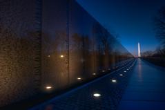 Vietnam Memorial III [Explore] (It's my whole damn raison d'etre) Tags: morning blue orange alex yellow sunrise dawn dc washington nikon memorial magic vietnam hour hdr d300s thechallengefactory erkiletian
