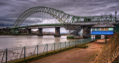 Runcorn Bridge (Tee Time Tony) Tags: uk bridge england water ferry exposure britain map tone hdr mersey fiddlers tonal runcorn merseyside widnes tonemapping
