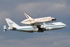 NASA TRIO - 747 T-38 and Shuttle Discovery - First low pass (Bob Garrard) Tags: museum smithsonian airport dulles iad space nasa international talon shuttle boeing discovery 747 t38 udvarhazy kiad n955na