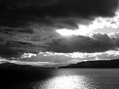 Flathead Lake (CNorth2) Tags: travel autumn bw usa white lake black fall nature water clouds canon landscape montana united shoreline powershot western states flathead g11
