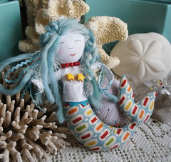 Lorelei - A Mermaid Pincushion for Moda Slice Competition (Cut To Pieces) Tags: moda slice button pincushion mermaid rickrack jellyroll peasandcarrots crushedwalnutshells pezzyprint