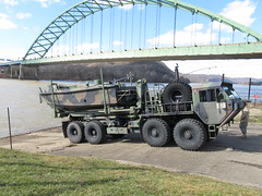 Bravo-240 Launching (WillynWV) Tags: winter river boats warm day cloudy military clear wv westvirginia ohioriver riverfrontpark beb marshallcounty moundsville hemtt combatengineers ohiovalley usarmyreserves m1977cbt mk2bridgeerectionboat