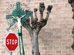 Mme si tu es athe... (xavnco2) Tags: road france tree sign wall french cross stop roadside mur arbre panneau croix picardie somme calvaire lamottebrebire