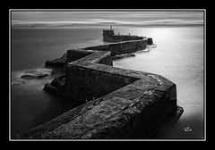 St Monans - # Explore 455 - March 12th, 2012 (RusseII Lees) Tags: sea bw white seascape black st wall mono coast scotland long exposure russell harbour fife defence lees monans