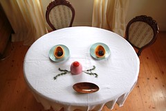 there's a mouse in my dining room (virginhoney) Tags: home face tomato table chairs plate ears diningroom rosemary dishes plums mose tablefaces