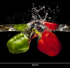 Splash. HMM (Ianmoran1970) Tags: red green water pepper flash jar splash hmm ianmoran macromondays macromonday ianmoran1970 onemillionviewsthankyou