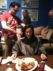 Our dear friend Fred cut Nicky's hair while she ate her roast chicken dinner backstage at The Birchmere. Honestly, we are not that kind of band - personal stylists before going on stage, really?