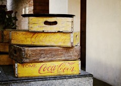 Vintage Coca-Cola Crates (StartTheDay) Tags: wood travel brown holiday color colour art rooftop yellow bar vintage mexico hotel wooden counter cola drink box beverage coke retro photograph cocacola safe crate amateur decayed 2011 purificadora alpha500 sonydslr500