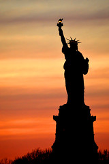Lady In The Harbor (Elevated Expanse Images) Tags: new york sunset sun newyork statue set ferry liberty island harbor newjersey shore jersey statueofliberty statenisland statenislandferry staten ncy