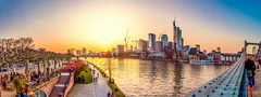 Frankfurt Sunset (pure:passion:photography) Tags: bridge light sunset panorama sun sunlight sunrise abend sonnenuntergang sundown frankfurt main promenade brcke sonnenaufgang 180 chillen sonnenstrahlen frankfurtammain abendstimmung abends eisernersteg uferpromenade 180panorama uferweg himmelsfeuer zeiss2470 sonya99 skylinemainpromenade