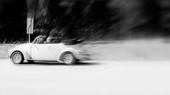 Varum (blazedelacroix) Tags: blackandwhite blur car vw forest vintage back flickr sweden beetle german arrow why vehicule exploding theroad blazedelacroix