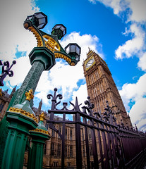 Big Ben London by Simon & His Camera (Simon & His Camera) Tags: city light sky urban cloud building london tower clock lamp architecture outdoor bigben lookingup fisheye iconic simonandhiscamera